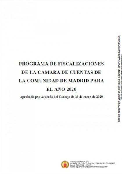 Programa de Fiscalizaciones para el año 2020. (Acuerdo del Consejo de 23 de enero de 2020).