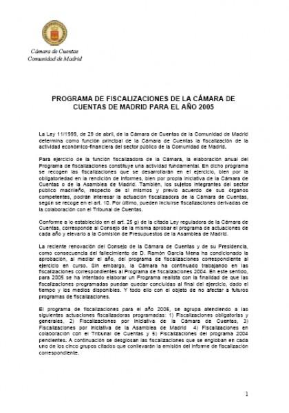 Programa de Fiscalizaciones para el año 2005
