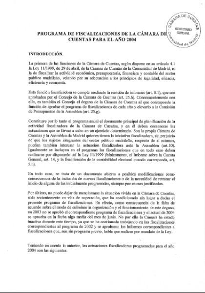 Programa de Fiscalizaciones para el año 2004