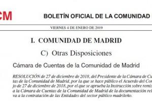 PUBLICADA LA INSTRUCCIÓN SOBRE REMISIÓN A LA CÁMARA DE CUENTAS DE LA DOCUMENTACIÓN RELATIVA A LA CONTRATACIÓN DE LAS ENTIDADES DEL SECTOR PÚBLICO MADRILEÑO.